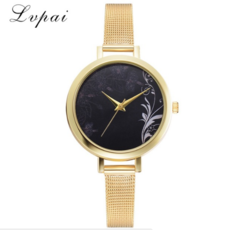 Lvpai Brand Women Watches Rose Gold Simple Metal Mesh Belt Ladies Watches gold one size