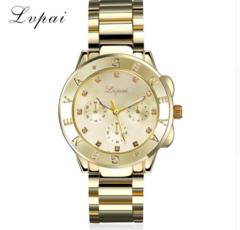 Lvpai Brand Watch Women Gold Stainless Steel Dress Luxury Wristwatch Fashion gold one size