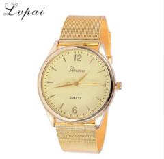 Women Fashion Luxury Watch Metal Mesh Belt Gold Stainless Steel Ladies Wristwatch gold one size