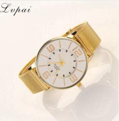 Lvpai Women Fashion Luxury Watch Gold Metal Mesh Belt Stainless Steel Watch rose gold one size