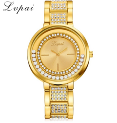 Lvpai Brand Fashion Casual Ladies Gold Stainless Steel Watch Diamond Luxury Business Women gold one size