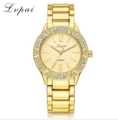 Lvpai Brand Fashion Watch Women Gold Dress Quart-Watch Steel Rhinestone Wristwatch gold one size