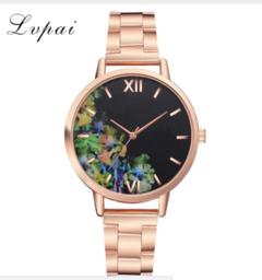 Lvpai Luxury Flowers Women Watches Fashion Stainless Steel Bracelet Wrist Watch blue one size