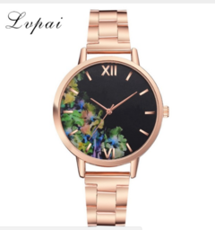 Lvpai Luxury Flowers Women Watches Fashion Stainless Steel Bracelet Wrist Watch rose gold one size