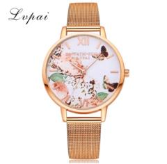 Fashion Casual Gold Sport Watch Women Quartz Watch Lvpai Brand Luxury Bracelet gold one size