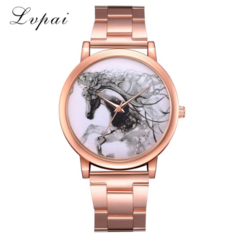 Lvpai Brand Watches Women Stainless Steel Bracelet Analog Quartz Watch Horse rose gold one size