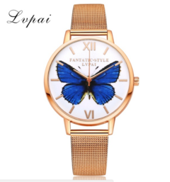 Watches Women Fashion Luxury Watch LVPAI Brand Rose Gold Butterfly Quartz WristWatches gold one size