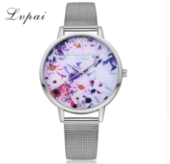 New Fashion Classic Rose Gold Flower Leather Strap Watch Women Fashion Casual gold one size