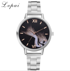 Lvpai Brand Women Stainless Steel Luxury Watches Silver&Black&Rose Gold Mermaid rose gold one size
