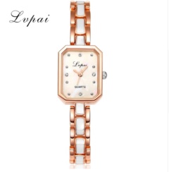 Lvpai Brand Women Alloy Bracelet Watch Women Luxury Crystal Rectangle Dial Quartz gold one size