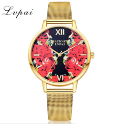 Lvpai Top Brand Fashion Stainless Steel Gold Mesh Quartz Wtach Luxury Flowers gold one size