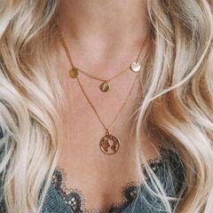 Fashion New Wafer Necklace World Map Pendant Necklace Set Gold one size