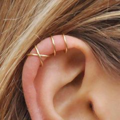5PCS Ear clip set 5-piece set Creative personality double   double layer non-pierced earrings Gold