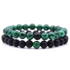 2 pieces / set of natural stone bracelet couple classic black matte green malachite black green 19cm