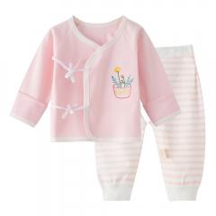 Baby underwear baby clothes  children's pajamas  baby clothes  0-6 months pure cotton pink 52cm