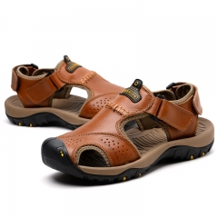 Luxury Casual Leather Sandals Men Fashion Genuine Leather Beach Sandal Split Flip Flop Leisure Shoes red brown 39