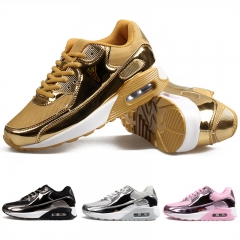 Brand Men's Sport Running Shoes Fashion Gold Air Cushion Sneakers Silver Sports Trainers Light Shoes gold 45