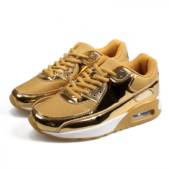 fb4273d98 Women Pink Sport Shoes Couple Fashion Gold Sneakers Air Cushion Leisure Running  Shoes Men Plus Size