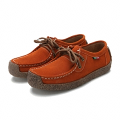 Fashion Women Cow Split Soft Sole Genuine Leather Shoes Platform Leisure Suede Shoes Plus Size orange 41