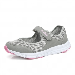 Women Sandals Fashion Casual Sport Flats Shoes Walking Non-slip Spring Summer Leather Loafers Shoes grey 38