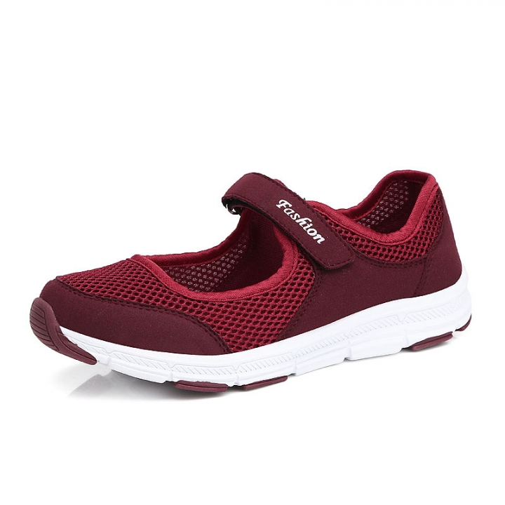 Women Sandals Fashion Casual Sport Flats Shoes Walking Non-slip Spring Summer Leather Loafers Shoes claret 36