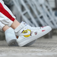 Men Spring High Top Sneakers Air Force No. 1 Graffiti Leisure Shoes Fashion Breathable Sport Shoes white 39