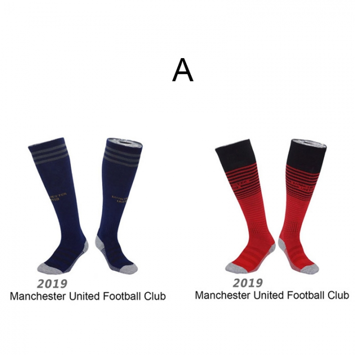 2pair Champions League Football Socks Men Kids Training Quick-dry Soccer Socks Non-slip Stockings A Manchester United men foot length 21-27.5cm