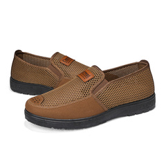 Men Breathable Mesh Loafers Comfortable Women Casual Non-slip Sandals High Quality Leisure Shoes light brown 38