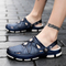 Two Wearing Ways Men Beach Sandals Fashion Soft Slippers Plus Size Leisure Shoes blue 38