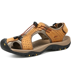Men Fashion Leisure Leather Sandals Plus Size Trekking Waterproof Sport Shoes Climbing Sandals yellow 45