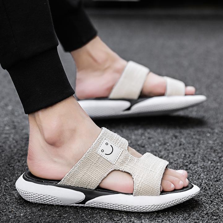 Men Fashion Outdoor Sport Shoes Breathable Non-slip Beach Sandals Smile Canvas Slippers beige 39