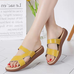 Women Genuine Leather Slippers Non-slip Heightening Casual Shoes Plus Size Breathable Sandals yellow 35