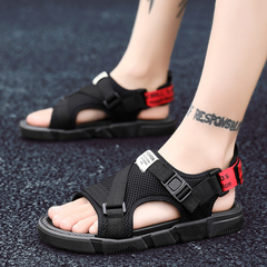 Men Breathable Canvas Beach Sandals Comfortable Leisure Work Shoes Plus Size Cool Sneakers black&red 39