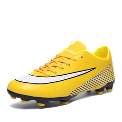 Men and Women Breathable Football Shoes Kids Non-slip Long-nailed Soccer Shoes Spiked Football Boots Long-nail Yellow 36