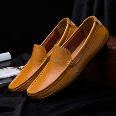 Men Genuine Leather Formal Shoes Casual Work Loafers Comfortable Breathable Peas Shoes yellow 38 genuine leather