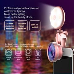 Phone Lens with   selfie  LED Light, 50X Macro Lens ,3 Adjustable Brightness Fill Light,for phone pink 3.5x2cm