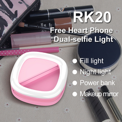 Selfie  Led Light for Camera,make-up mirror, Rechargeable Battery,Clip on  Smart Phone, pink 8.5x8.5x3cm