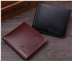 New Wallet Short Men Wallets PU Leather Male Purse Card Holder Wallet Fashion brown 12*9.8*1.5cm