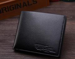 New Wallet Short Men Wallets PU Leather Male Purse Card Holder Wallet Fashion black 12*9.8*1.5cm