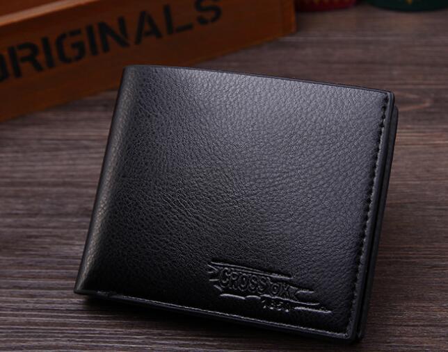 New Wallet Short Men Wallets PU Leather Male Purse Card Holder Wallet Fashion black 12*9.8*1.5cm