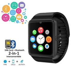 Ryan World Stylish Compact Bluetooth Smart Watch Bracelet Camera Sport Sim TF Watch black one-size