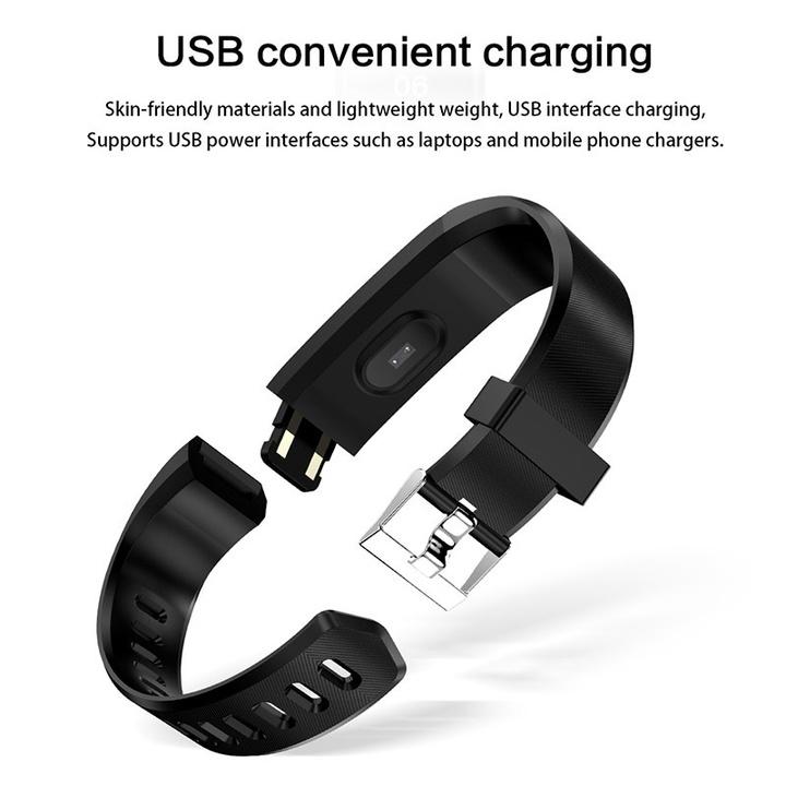 Ryan World Sport Smart Watch Smart Wristband Pedometer Waterproof Fitness Band Bracelet black one-size