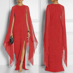 Ryan World Women Elegant Irregular Sling Splitting Prom Dress Chiffon Splicing Long Coat Dress s red