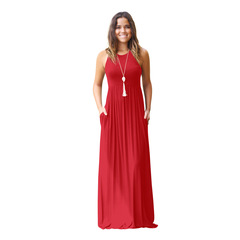 Ryan World Fashion Women sleeveless Solid Color Ruched Dress with Pockets Casual Maxi Dress S red