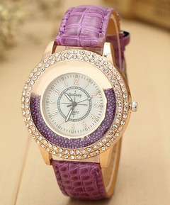 Ryan World Women's Quartz Watch Diamond Mother of Pearl Dial Crystal Genuine Leather Strap Watch purple free size