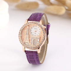 Ryan World Women's Watch New Vintage Paris Eiffel Tower Women's Quartz Watch Casual Wristwatch Purple free size