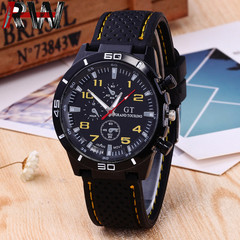 Ryan World Mens Luxury Waterproof Stainless Steel Silicone Band Sport Watch Business Wristwatch Yellow Free Size