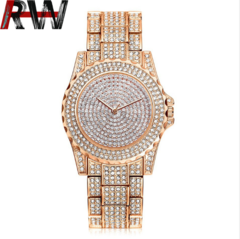 Ryan World 2019 new steel band diamond studded men watch Rome Star quartz Diamond Watch Rose gold free size