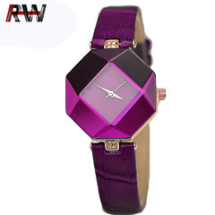 Ryan World Waterproof Quartz Watches Leather Band Starry Sky Dial Simulated Diamond Wrist Watches Purple free size