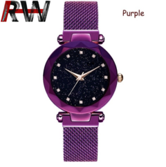 Ryan World Women Quartz Watches Sky Star Wristwatch Magnetic Mesh Band Watch Hot Starry Watch Purple Free Size